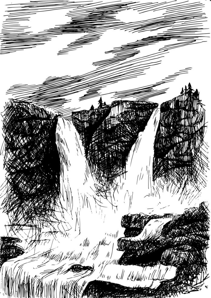 Vector mountain landscape with waterfall by hatching