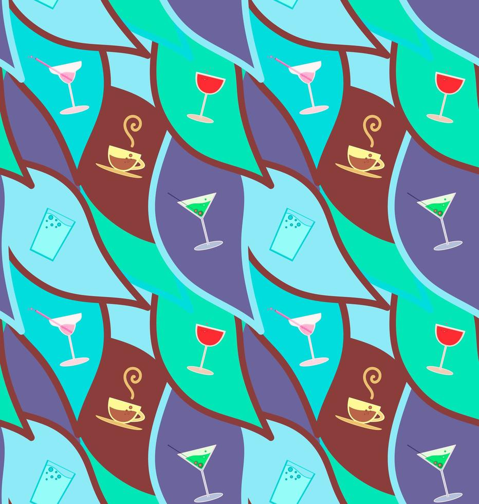 Vector seamless pattern with cocktails