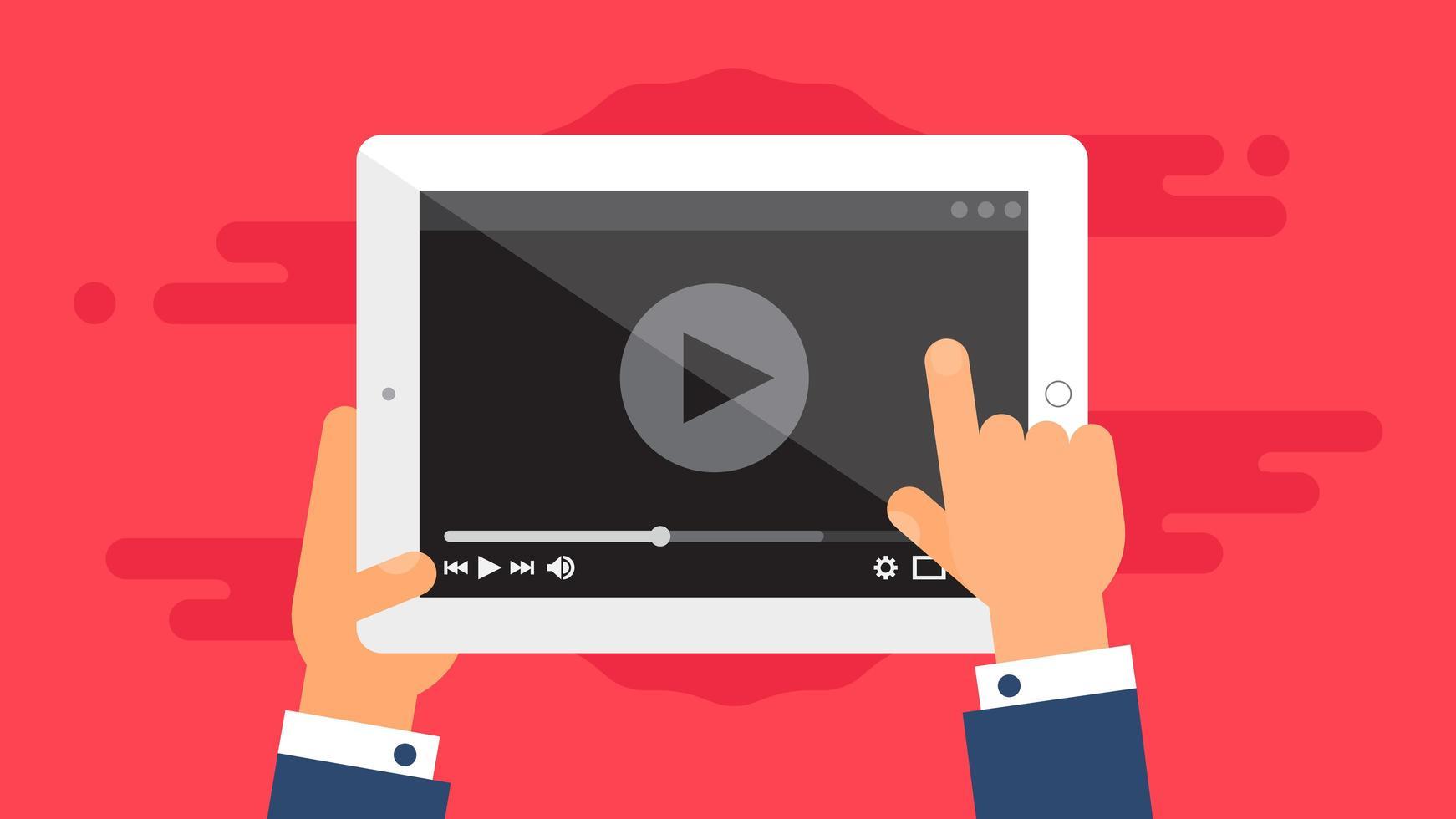 Plantilla web de formulario de video de tableta vector