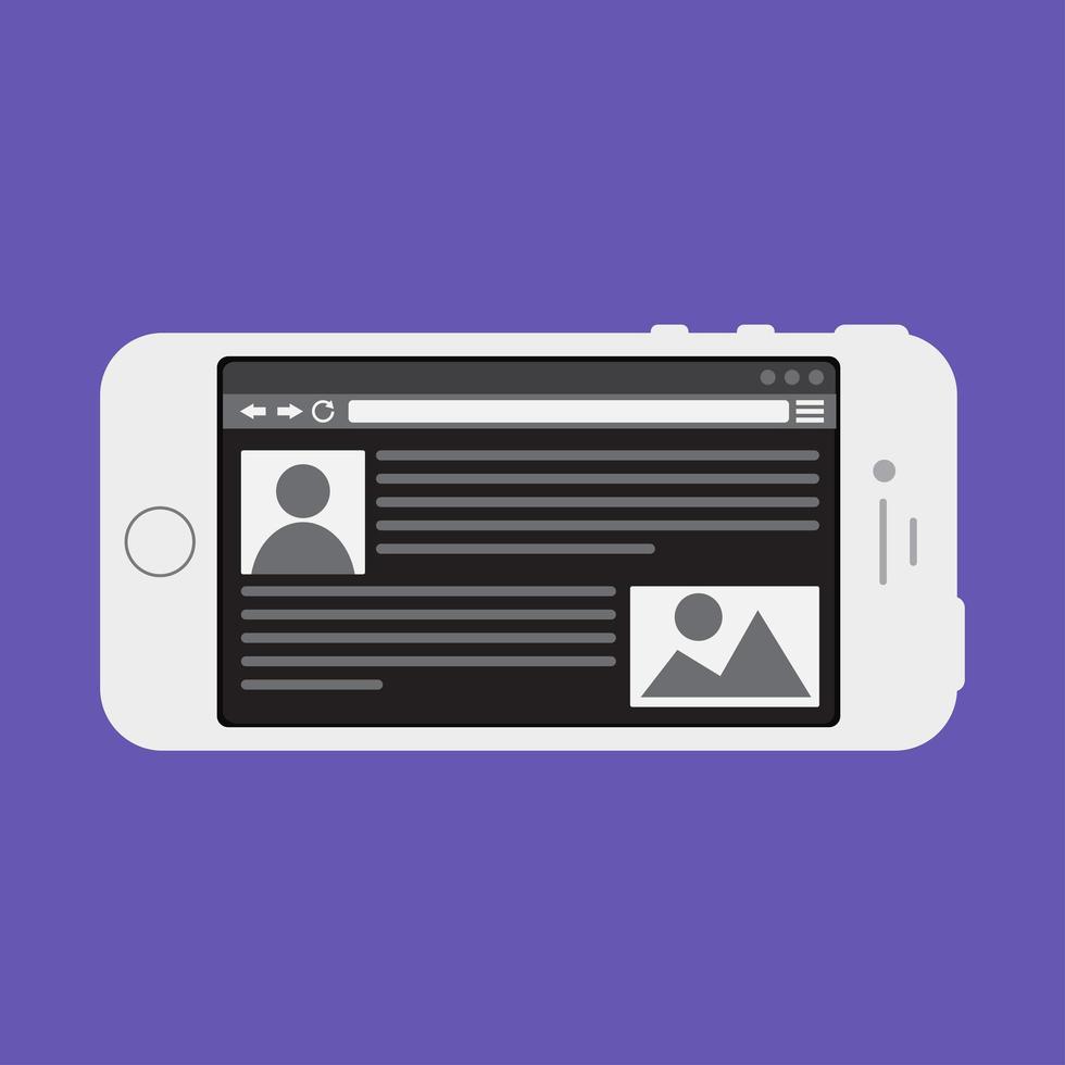 plantilla web de sitio de teléfono inteligente o formulario de artículo vector
