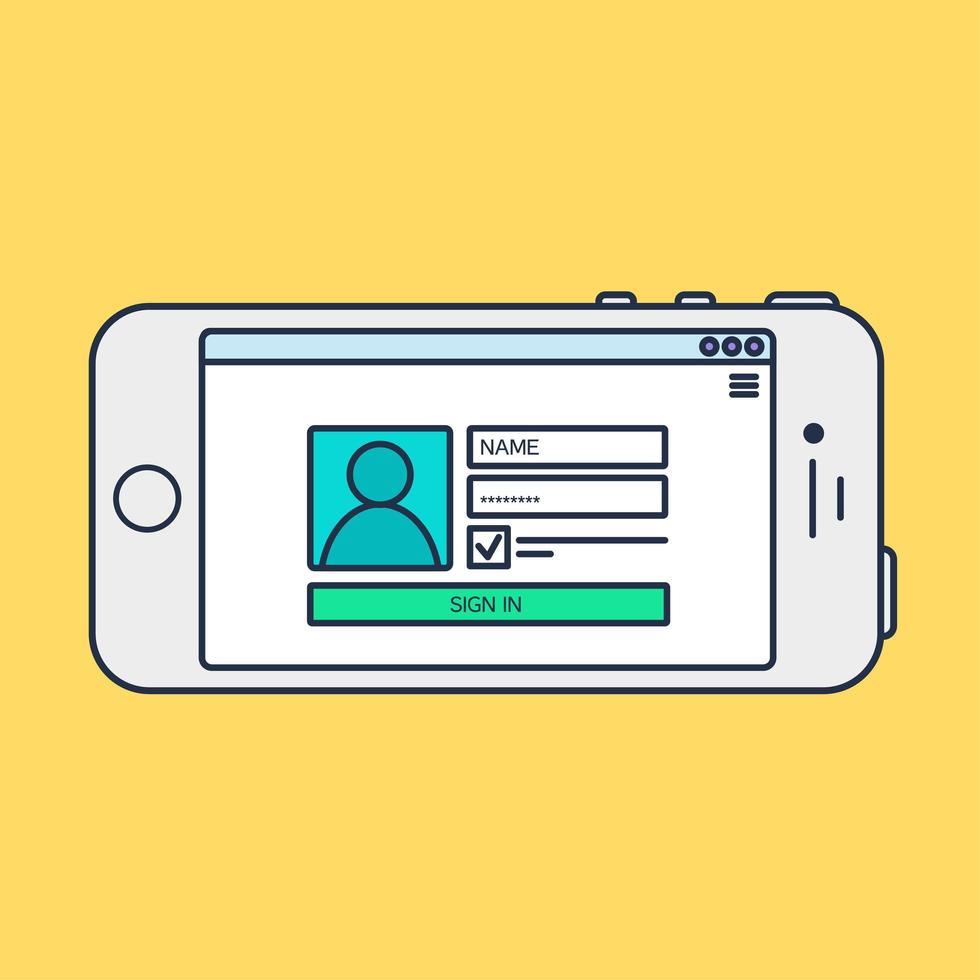 Web Template of Smartphone Login Form vector