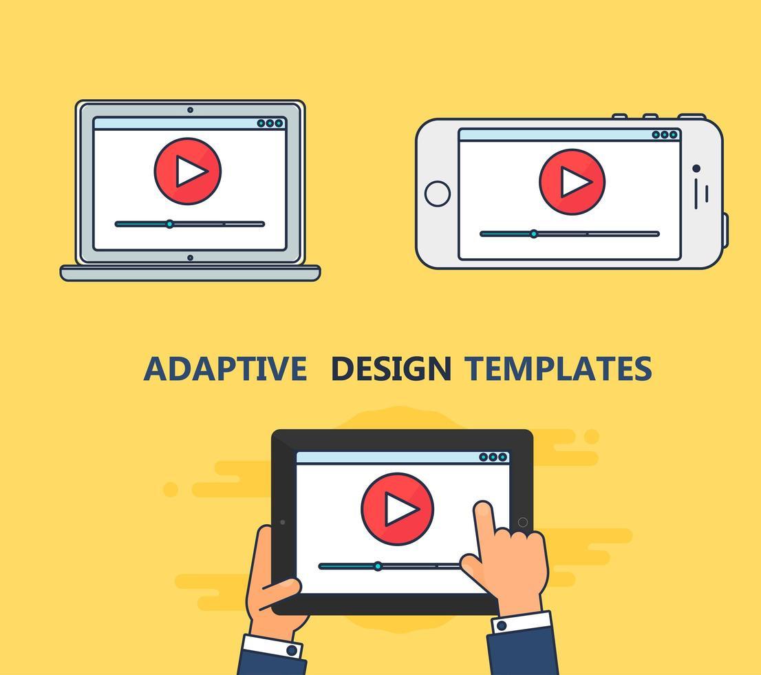 plantilla web de formulario de video adaptativo vector