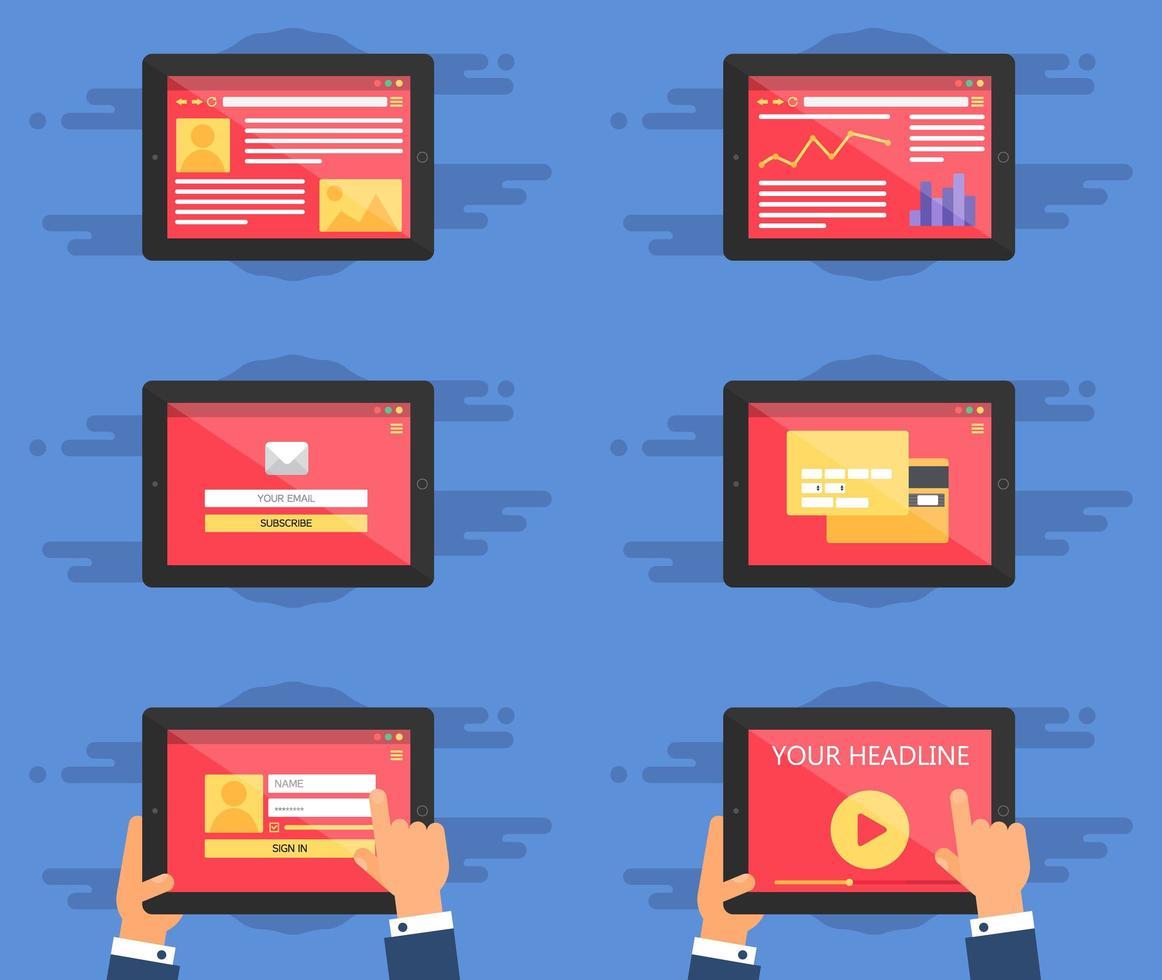 formulario de plantilla web en tableta vector
