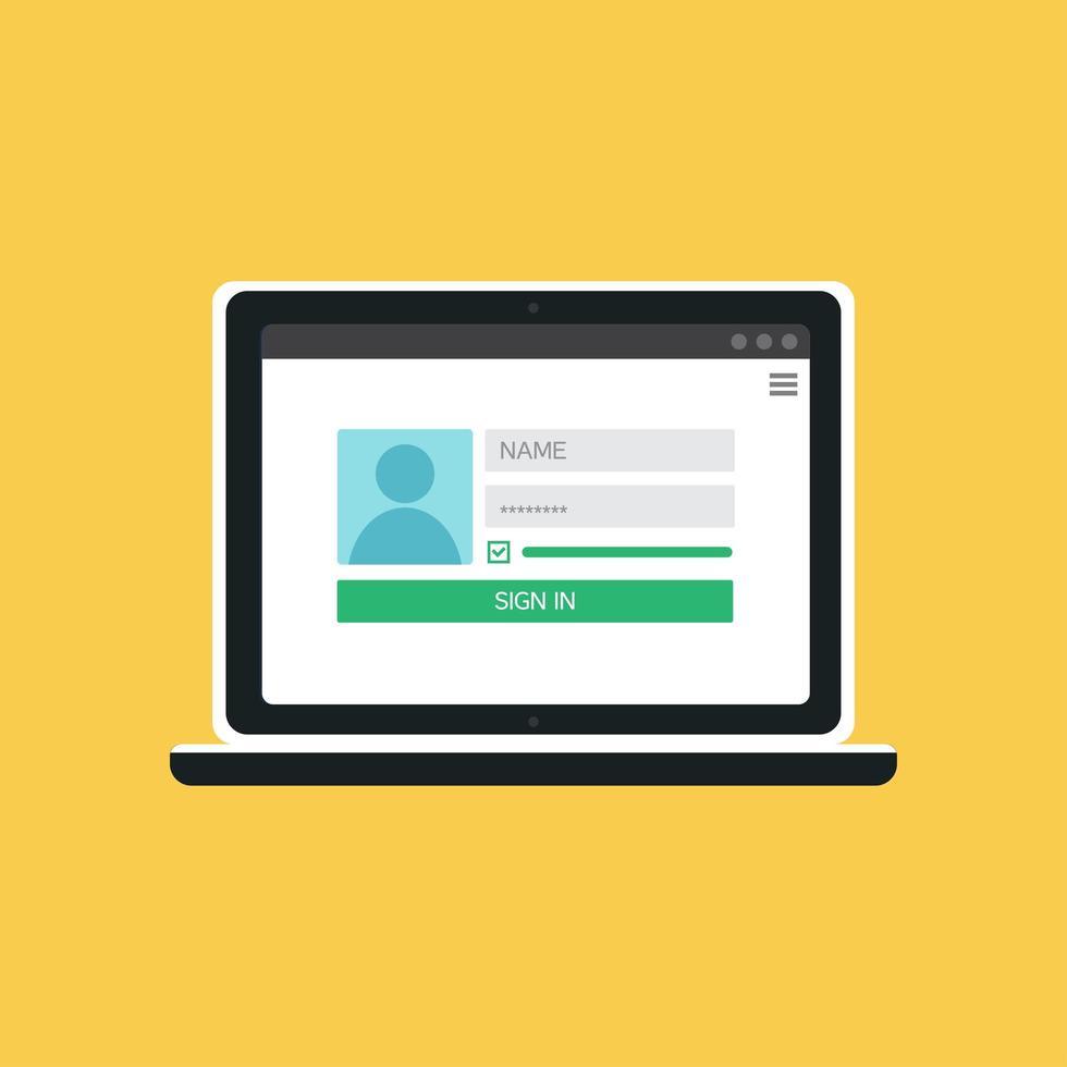 plantilla web del formulario de inicio de sesión del cuaderno vector