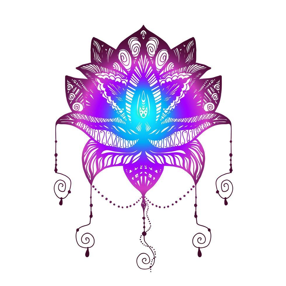 tatuaje de flor de loto vector