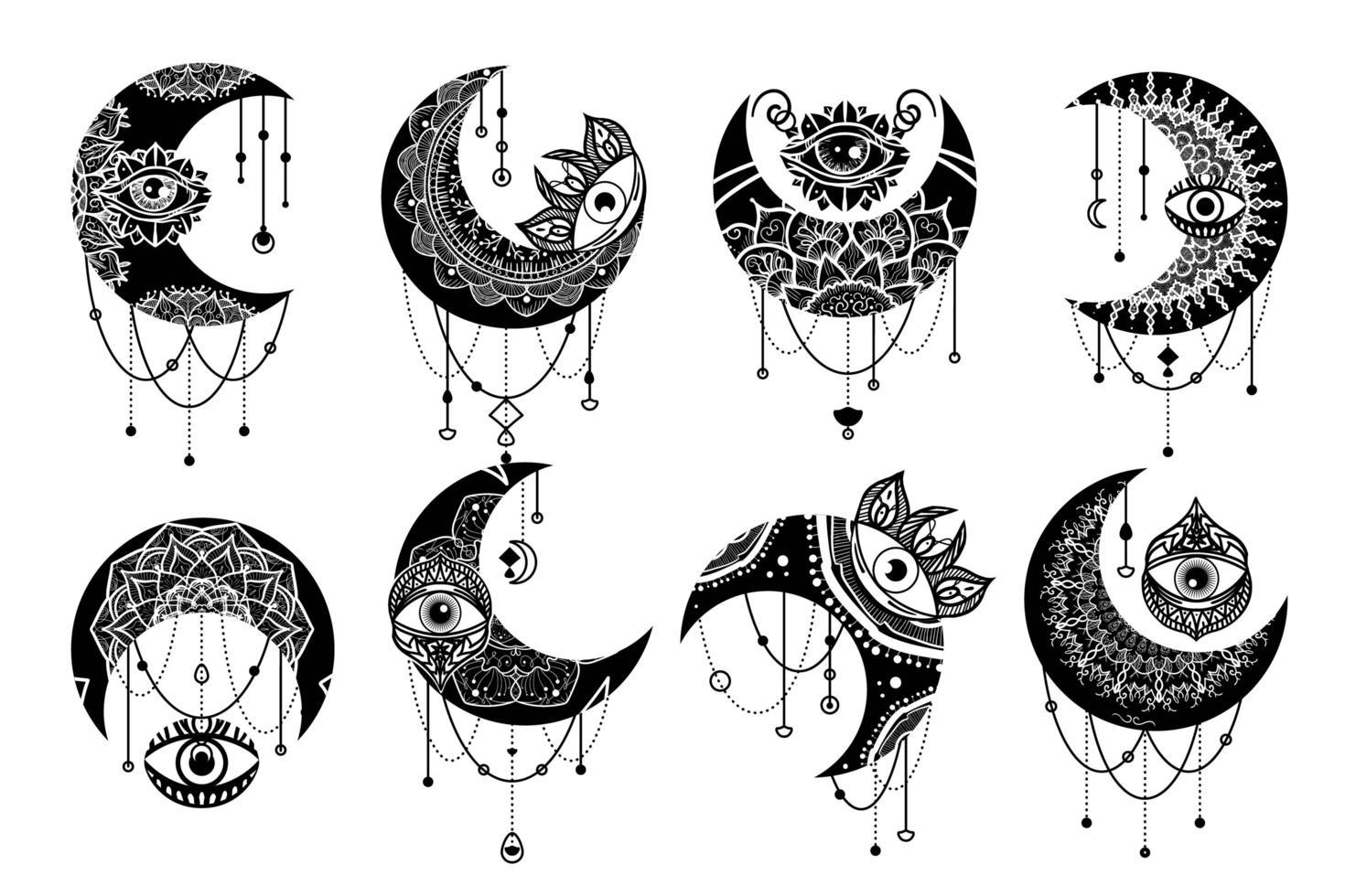 Conjunto de iconos lineales de símbolo de contorno de luna creciente vector