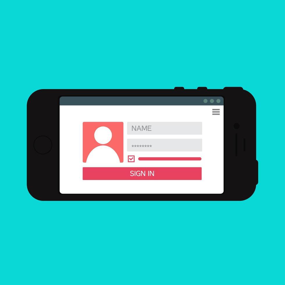 plantilla web de formulario de inicio de sesión de teléfono inteligente vector
