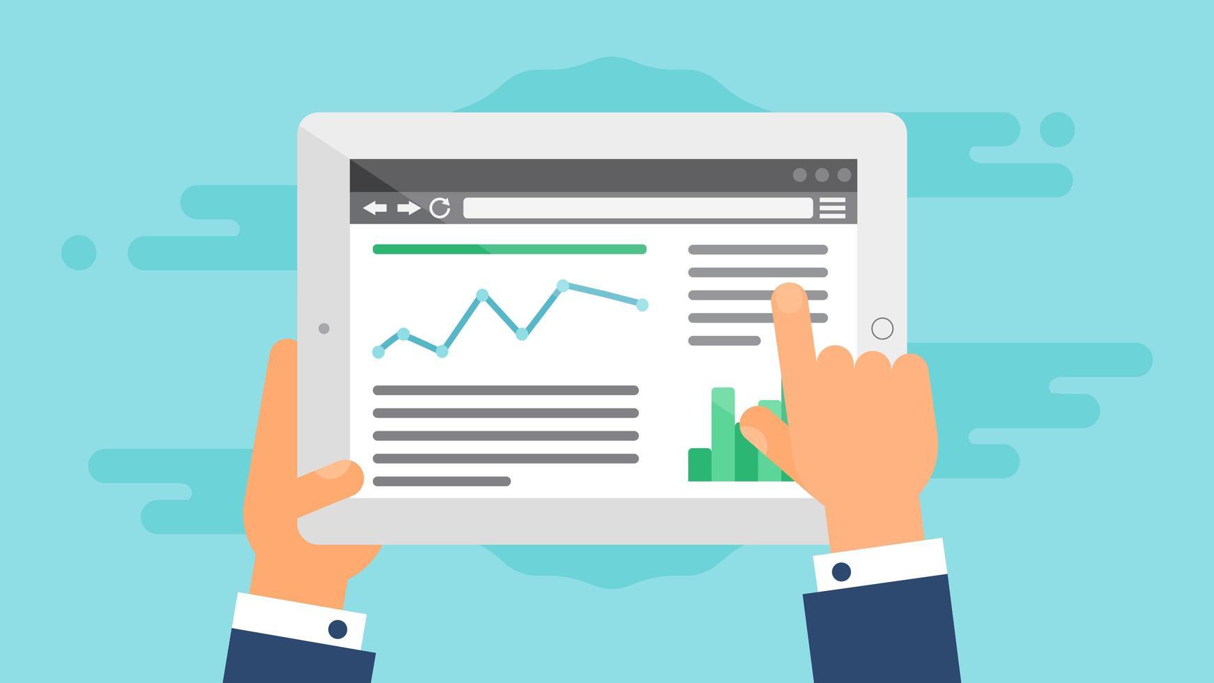 plantilla web de sitio de tableta o formulario de artículo vector
