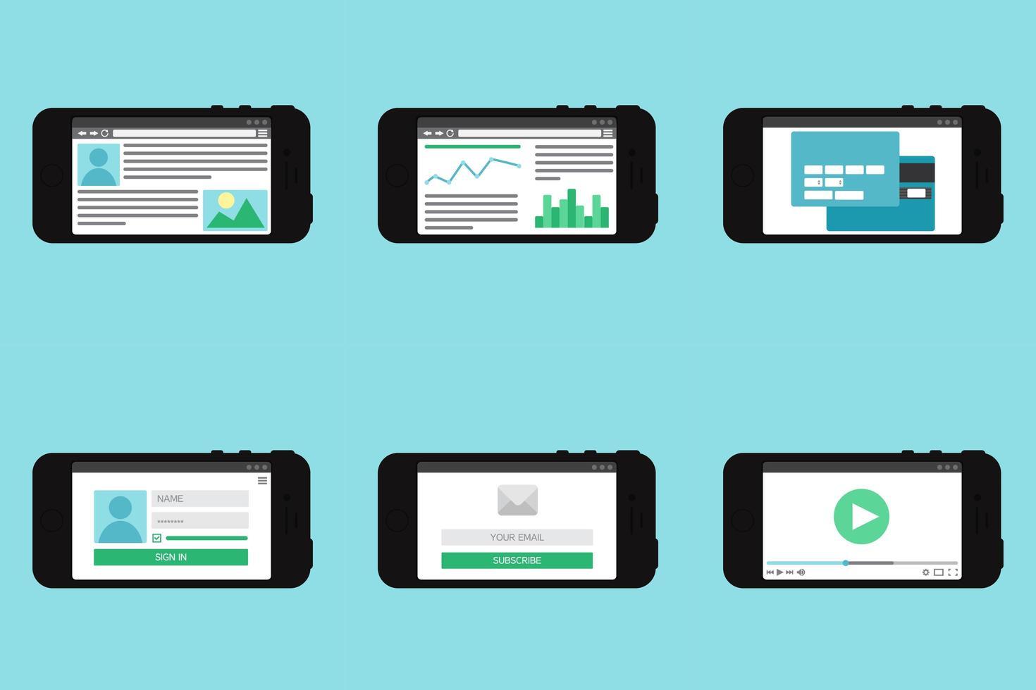 formulario de plantilla web en smartphone vector