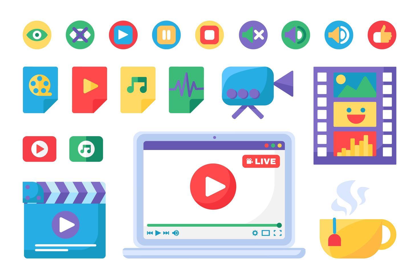 Los iconos y botones del reproductor multimedia establecen diseño plano vector