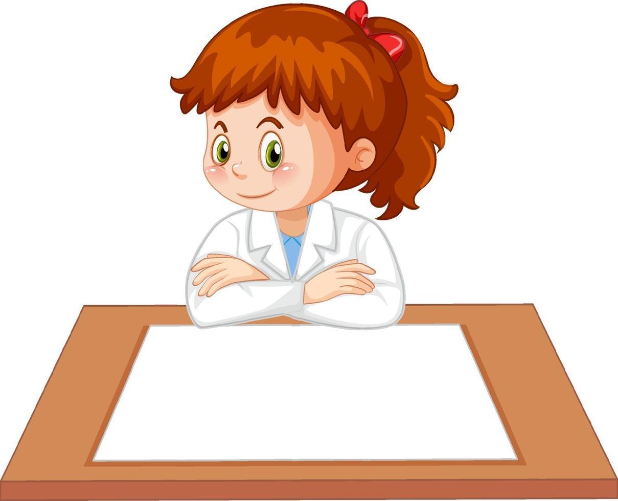uniforme de niña científica con papel en blanco sobre la mesa vector