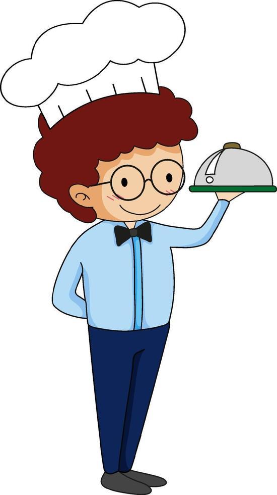 Little waiter serving food cartoon character vector