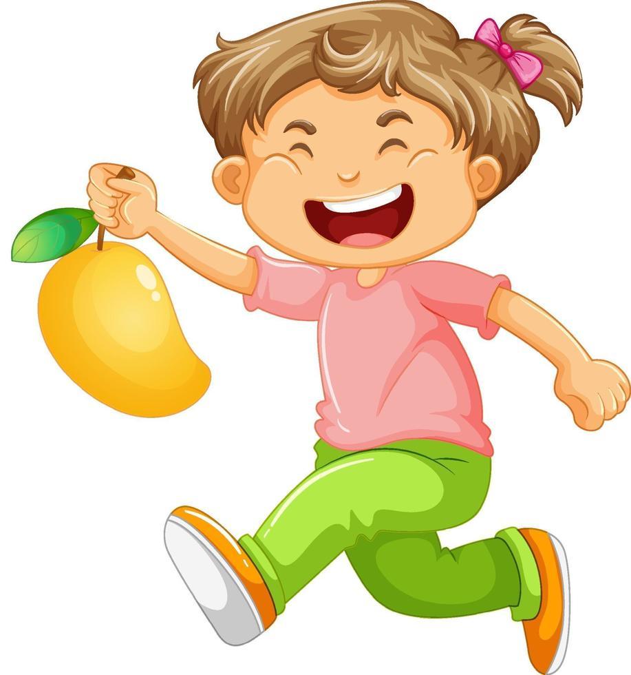 personaje de dibujos animados de niña feliz sosteniendo un mango vector