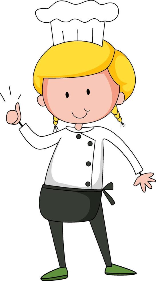 Little chef cartoon character isolated vector