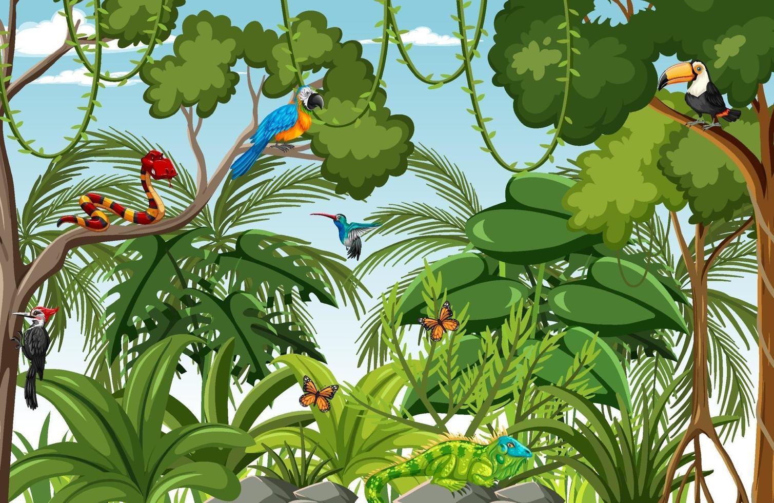 escena del bosque con muchos árboles y animales salvajes. vector