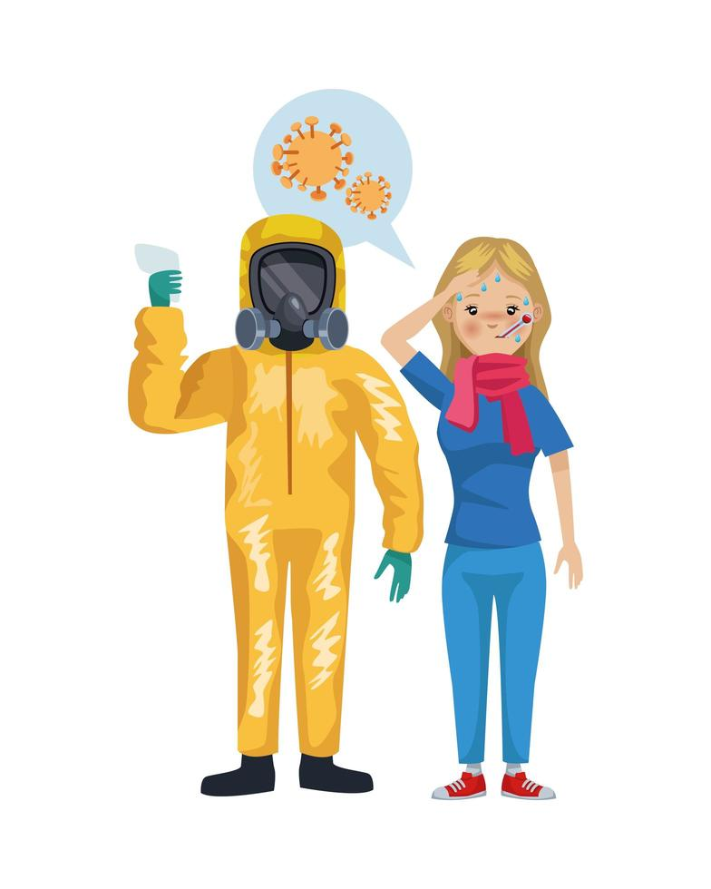 man with biohazard suit and woman sick characters vector