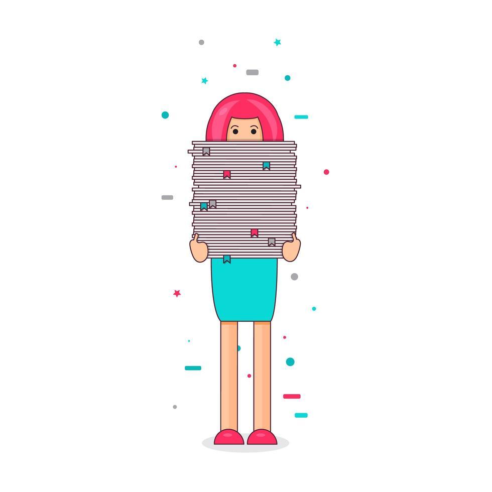 trabajador con pila de papeles vector