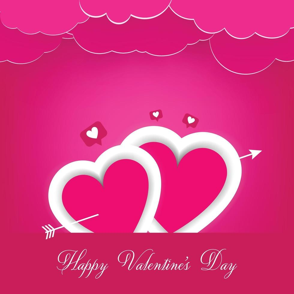 Valentine's day background, hearts on stage with pink cloud vector