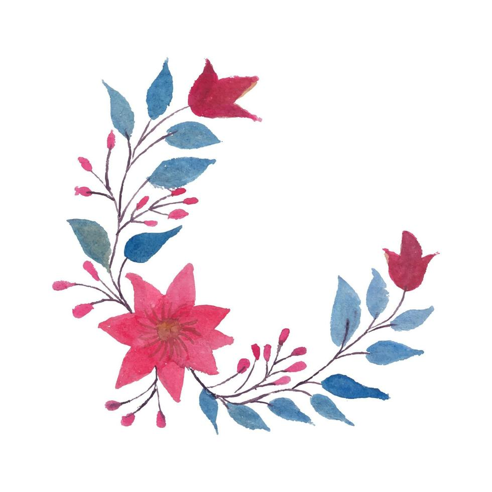 Vector Watercolor Circle Corner Flowers Leaves and Branches