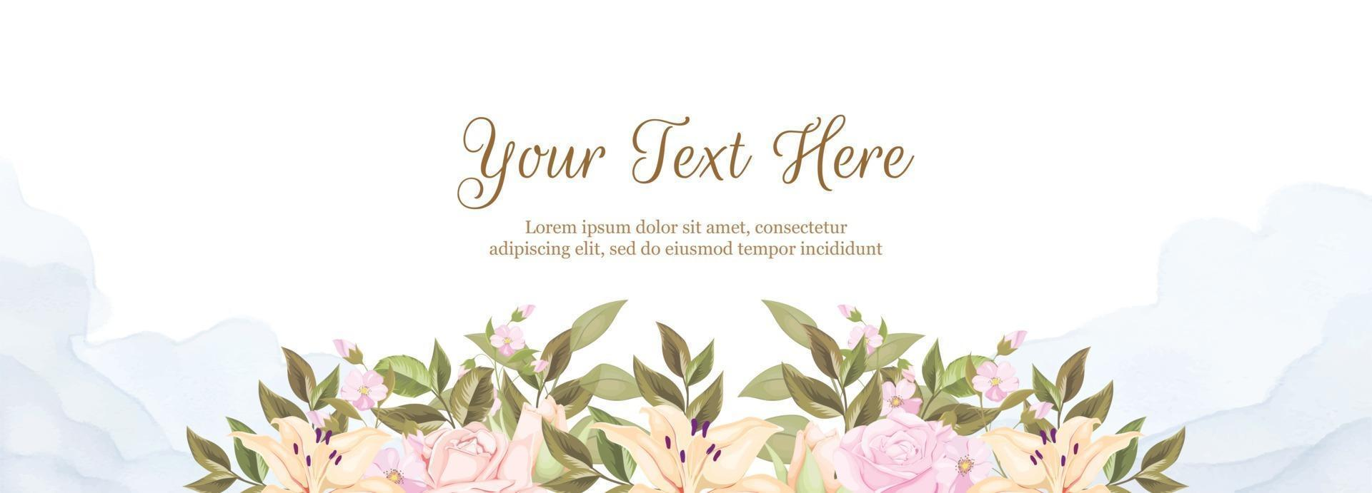 Floral Banner Background Template for Wedding Decoration vector