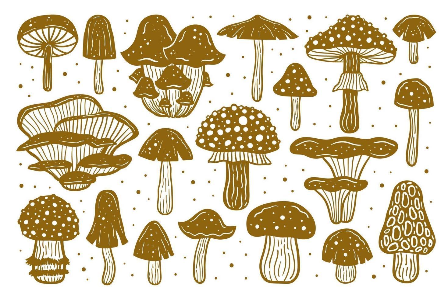 Big set of forest mushrooms. Ink vector illustration. Linocut print. Golden monochrome design. Botanic, nature.