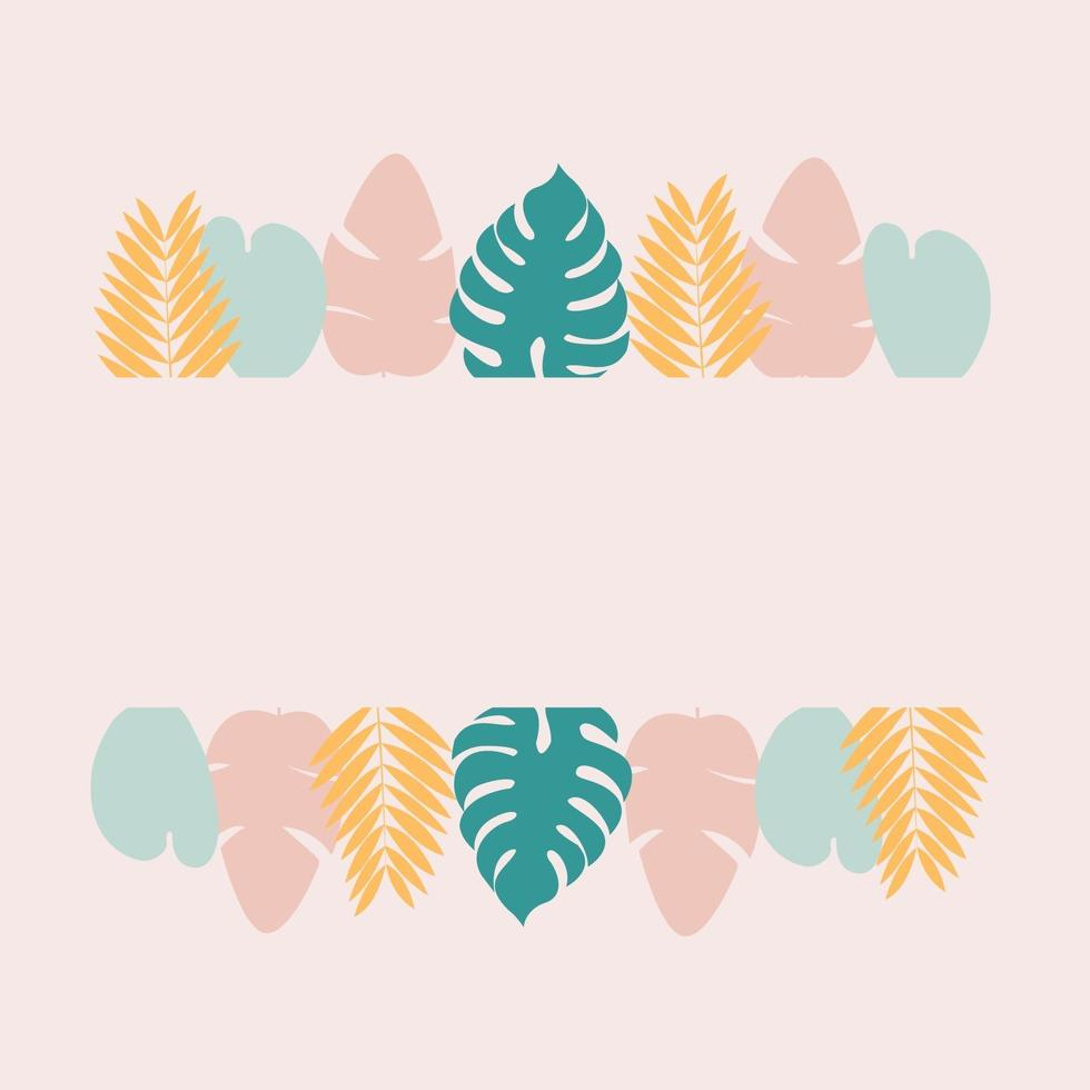 Tropical frame with green monstera leaves and pink bananas leaves on pink background vector