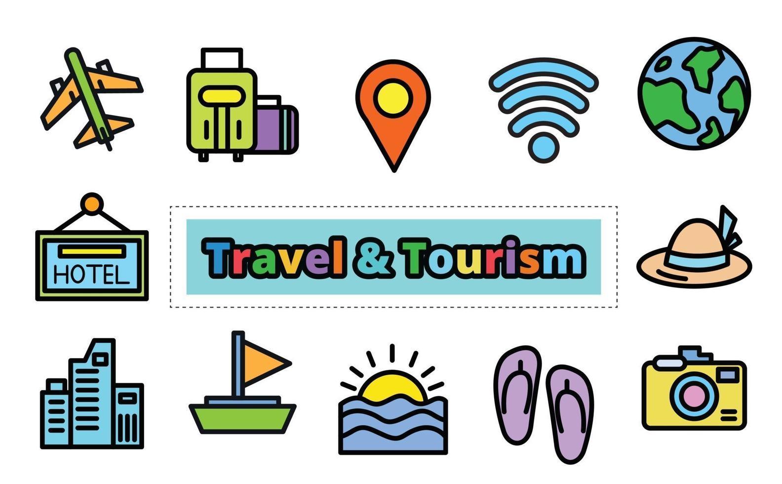 Travel  tourism icon set, vector design.