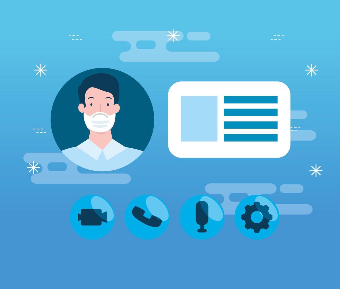 Hombre con mascarilla en tecnología de educación en línea vector