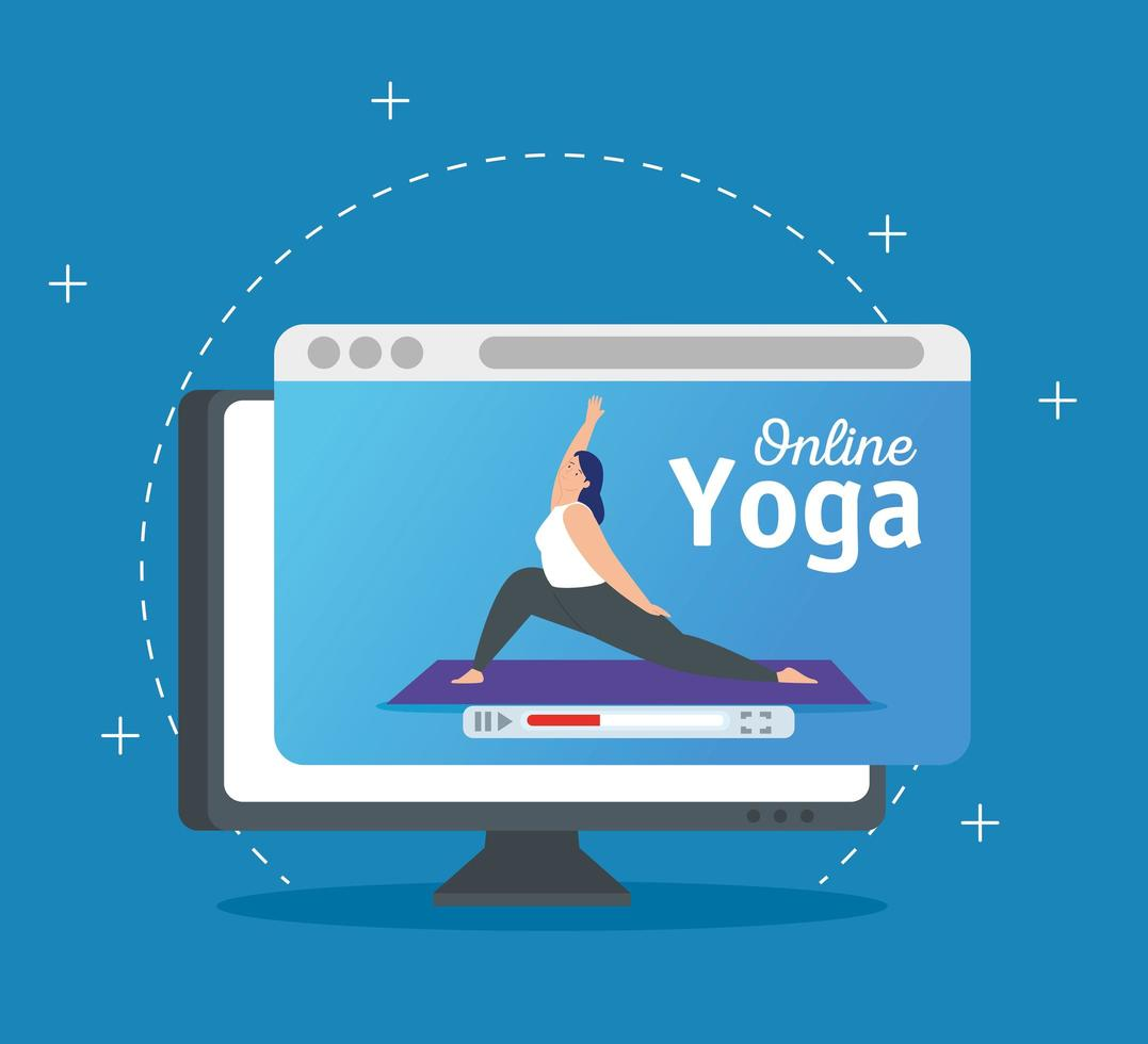 woman practicing yoga online technology vector
