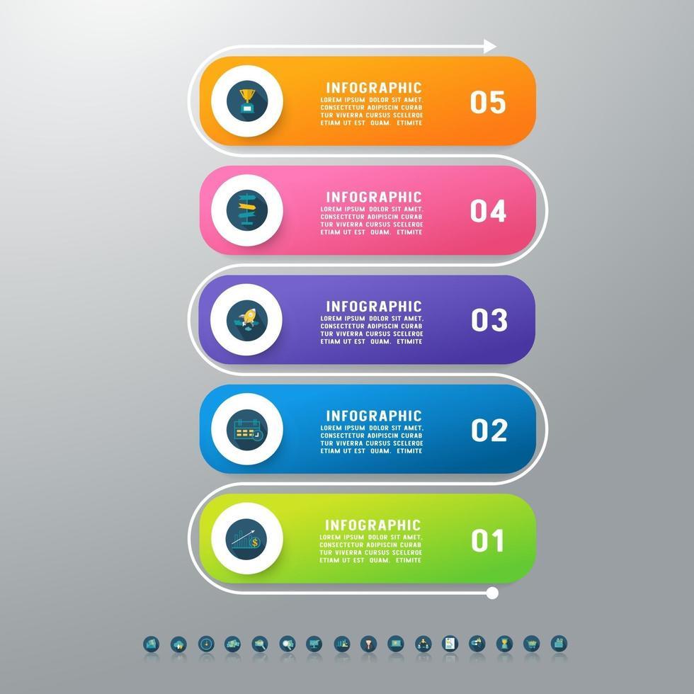 Business 5 steps process chart infographics vector