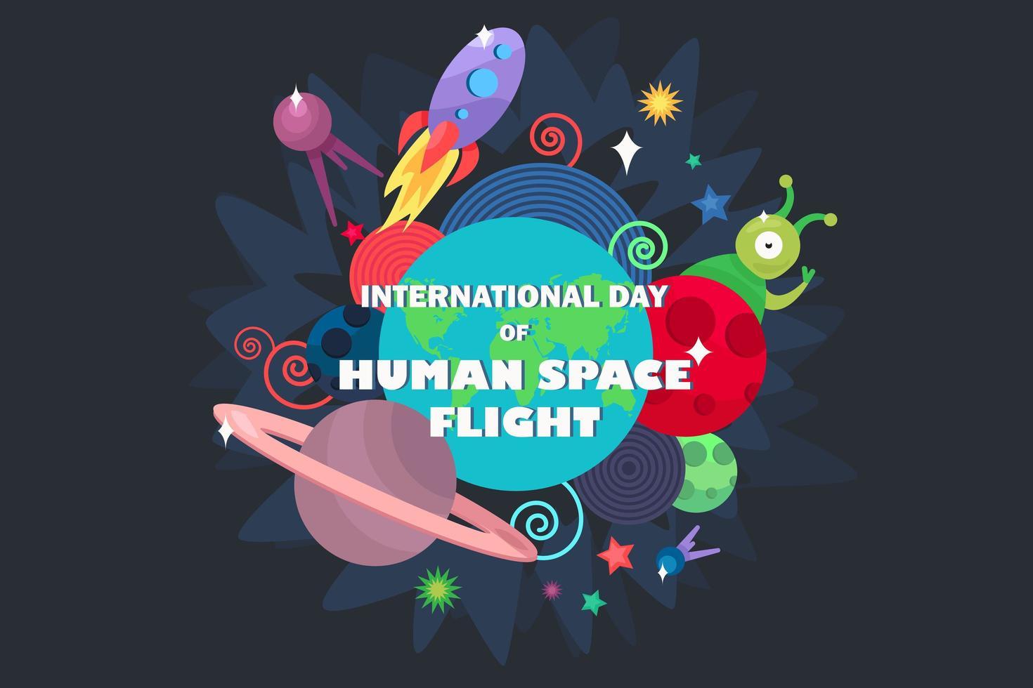 día internacional de los vuelos espaciales tripulados vector