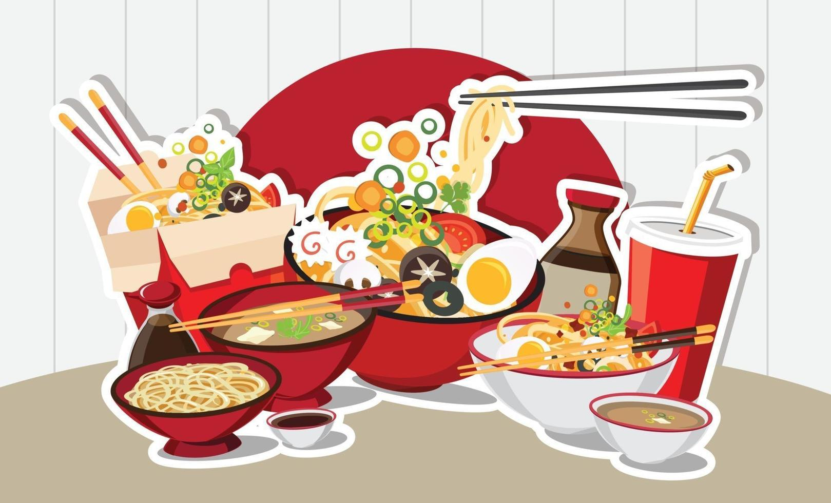 Chinese food, Japanese Ramen Asian Food Design vector