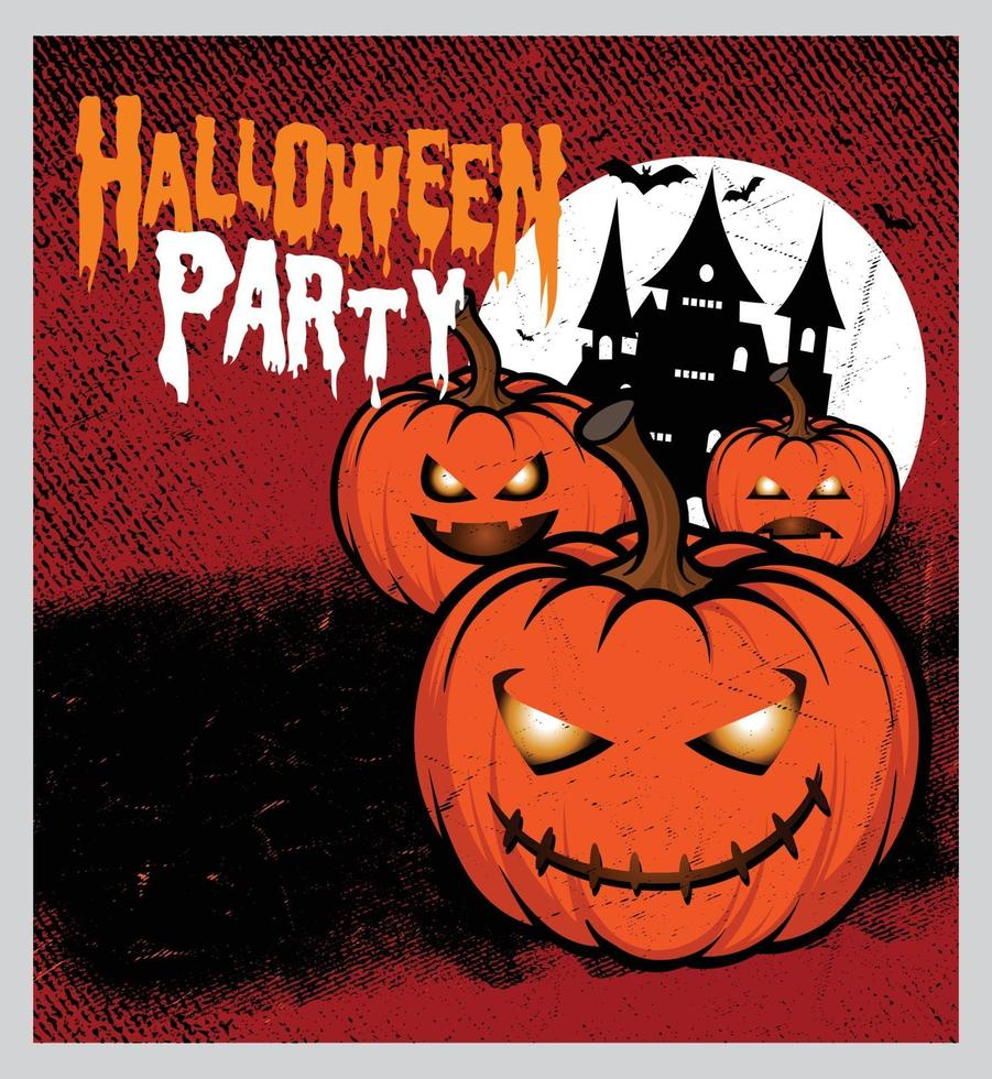 Halloween night party background with full Moon vector
