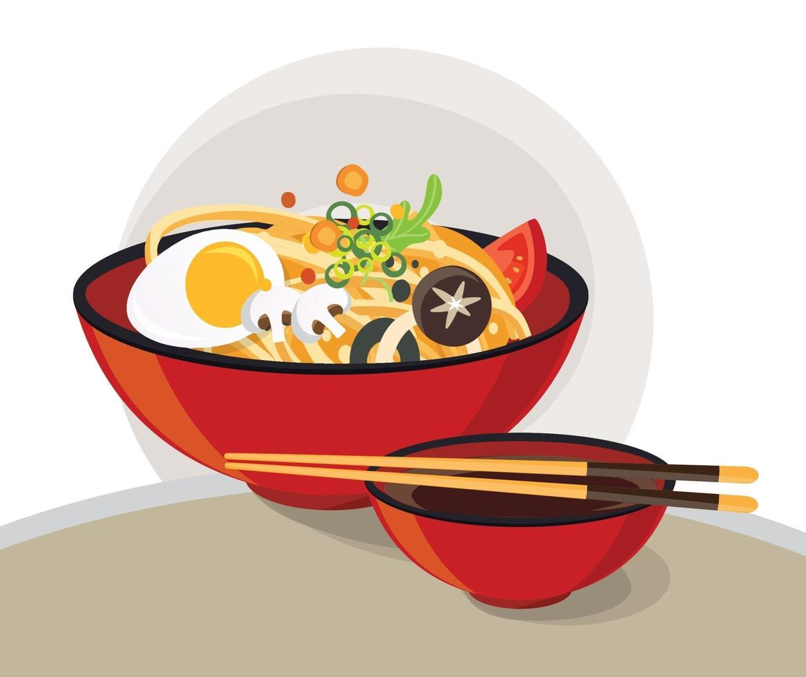 Traditional chinese soup with noodles design vector