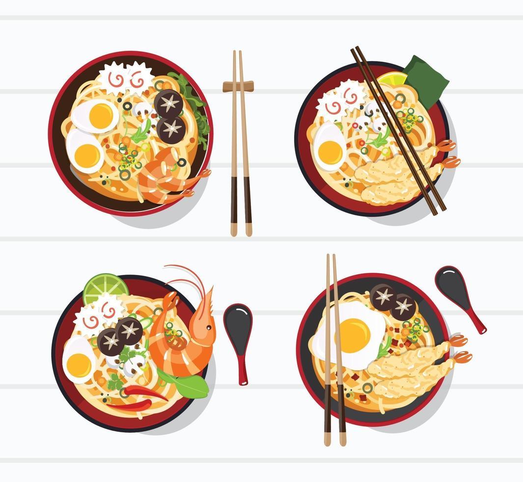 Japanese Ramen in a Bowl Set vector