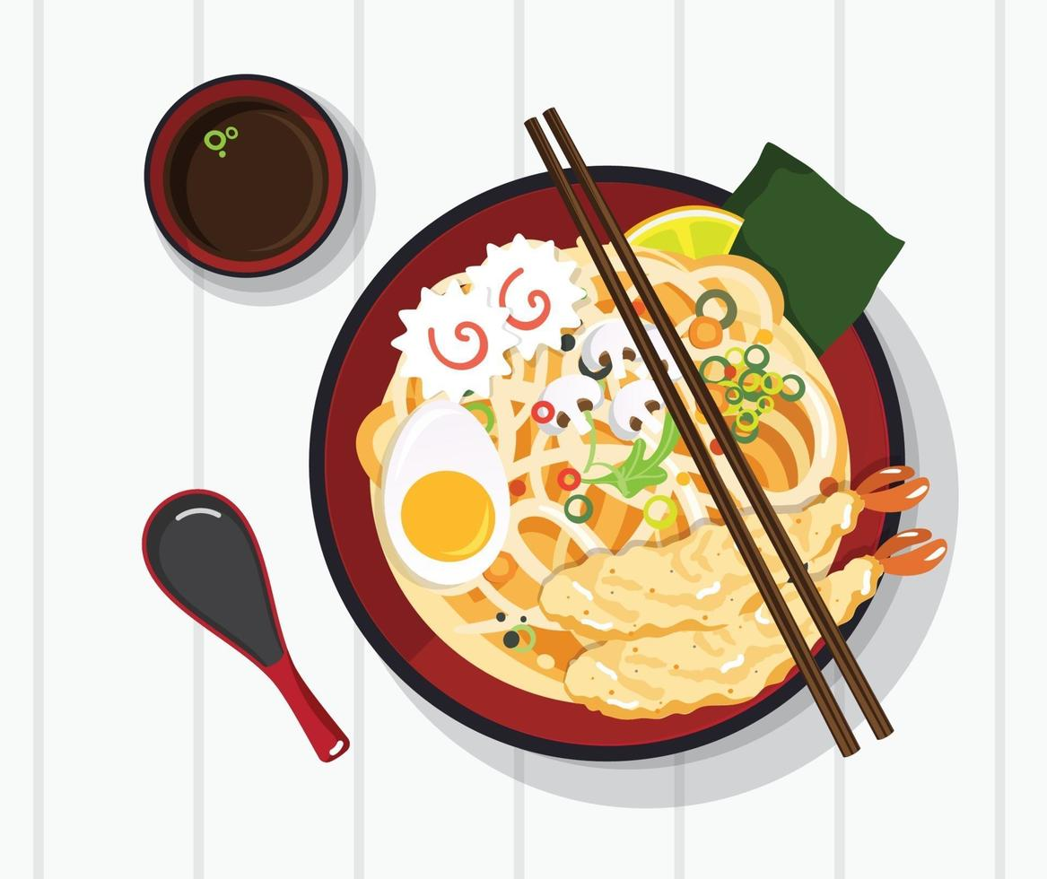 Traditional chinese soup with noodles vector