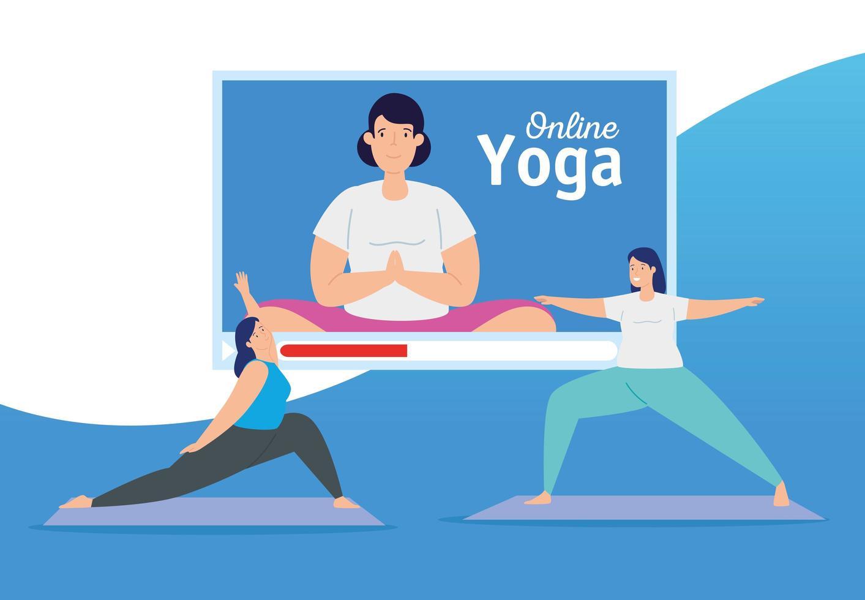 women practicing online yoga vector