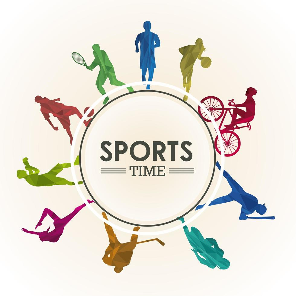sports time poster with athletes silhouettes in circular frame vector