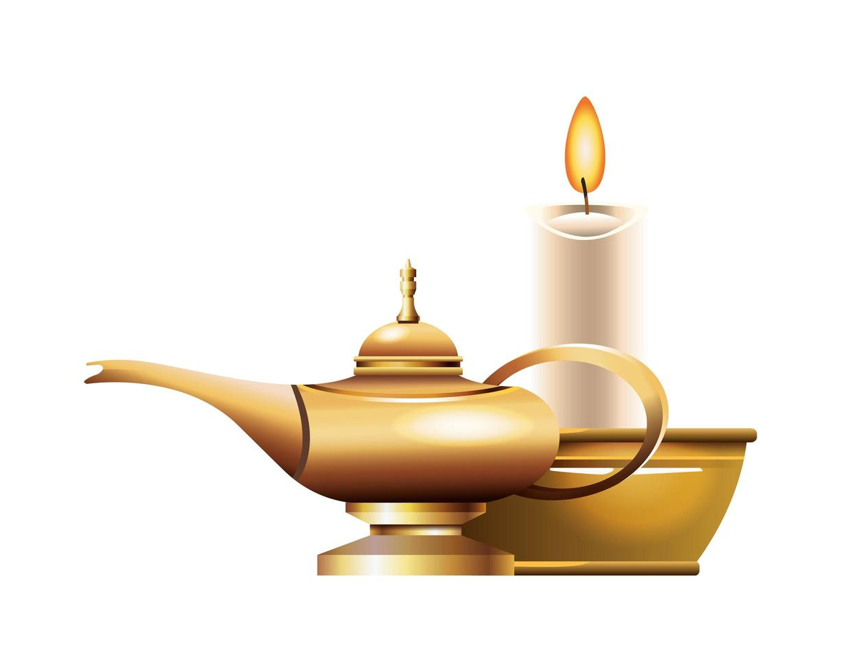 Antique golden magic lamp and candle vector