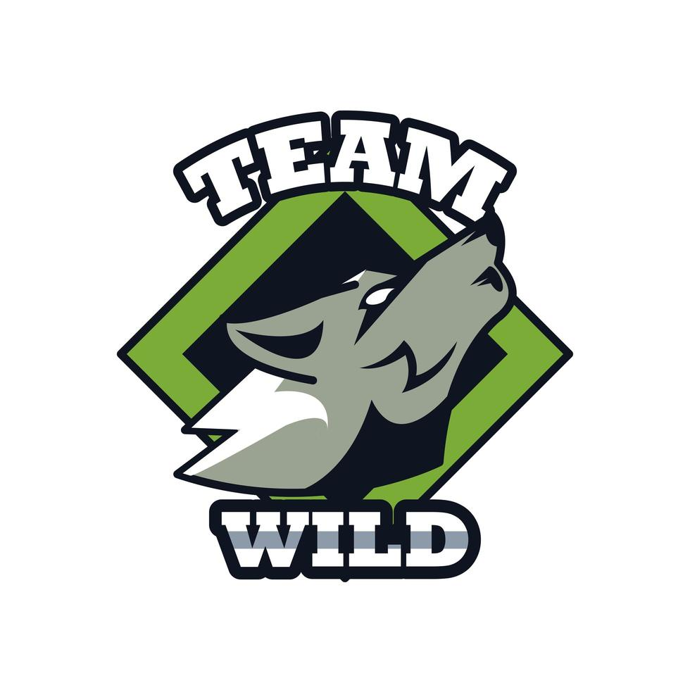 wolf howling head animal emblem icon with team wild lettering vector
