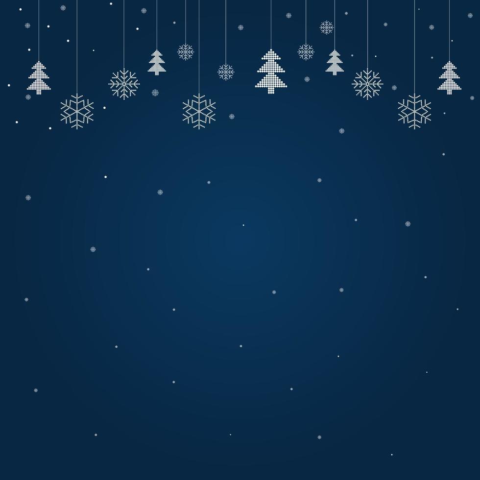 feliz navidad y felices fiestas tarjeta de felicitación con fondo azul y copos de nieve vector