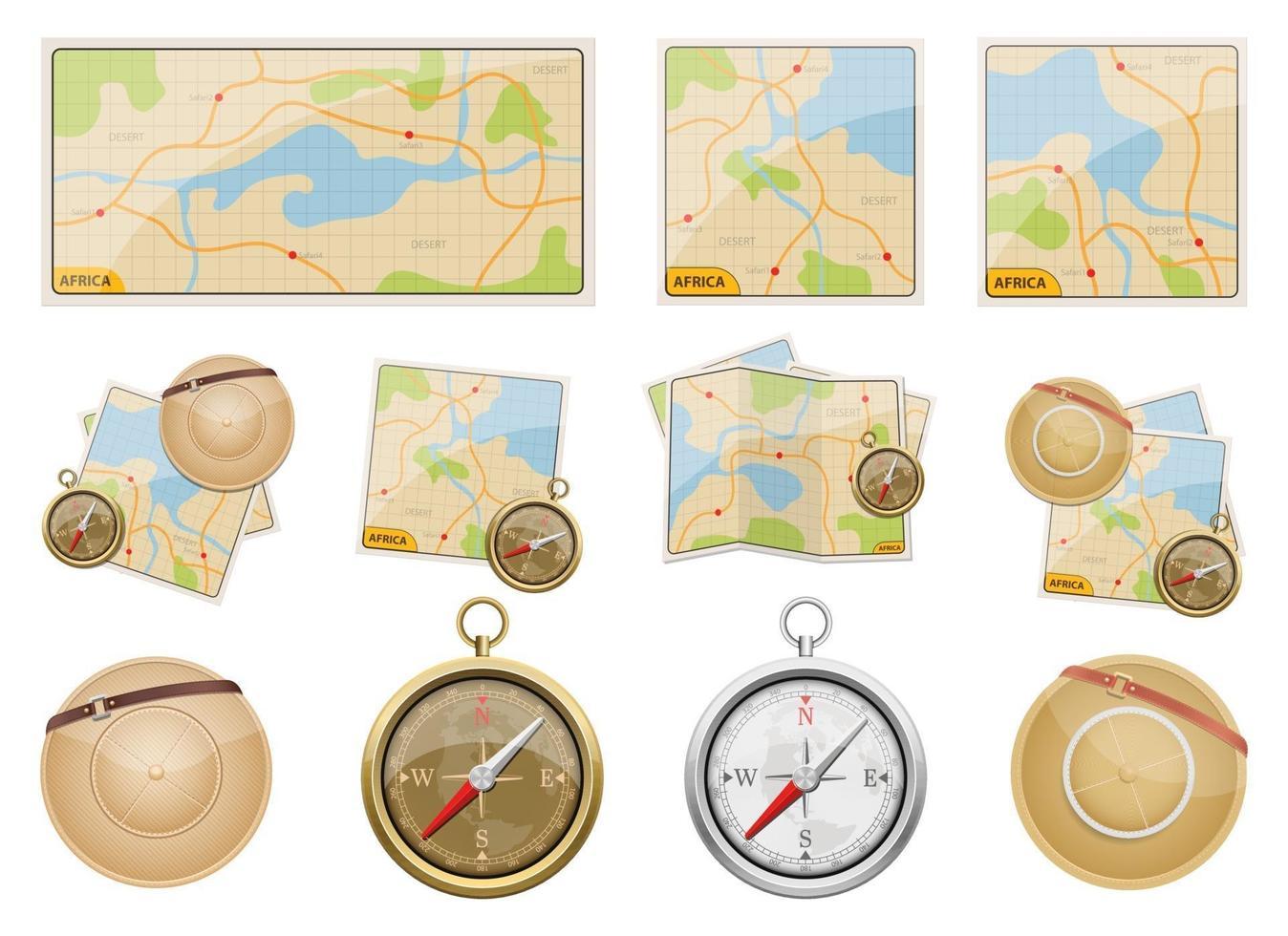 Africa safari map vector design illustration set isolated on white background