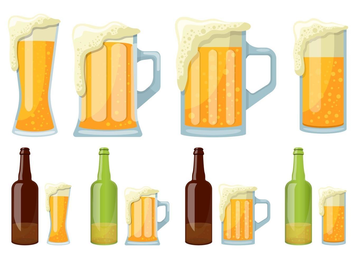 Mug and bottle of beer vector design illustration set isolated on white background