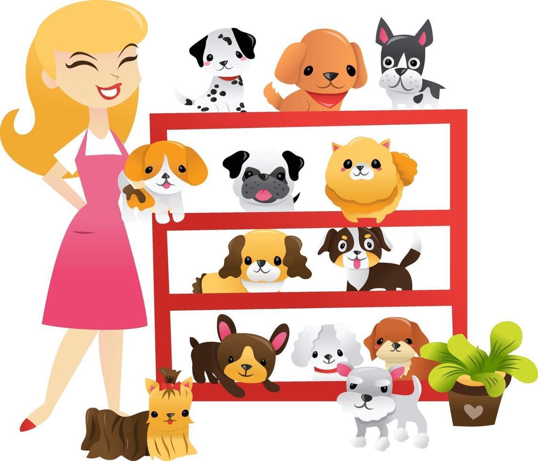 tendero de estante de mascotas de cachorros de dibujos animados vector