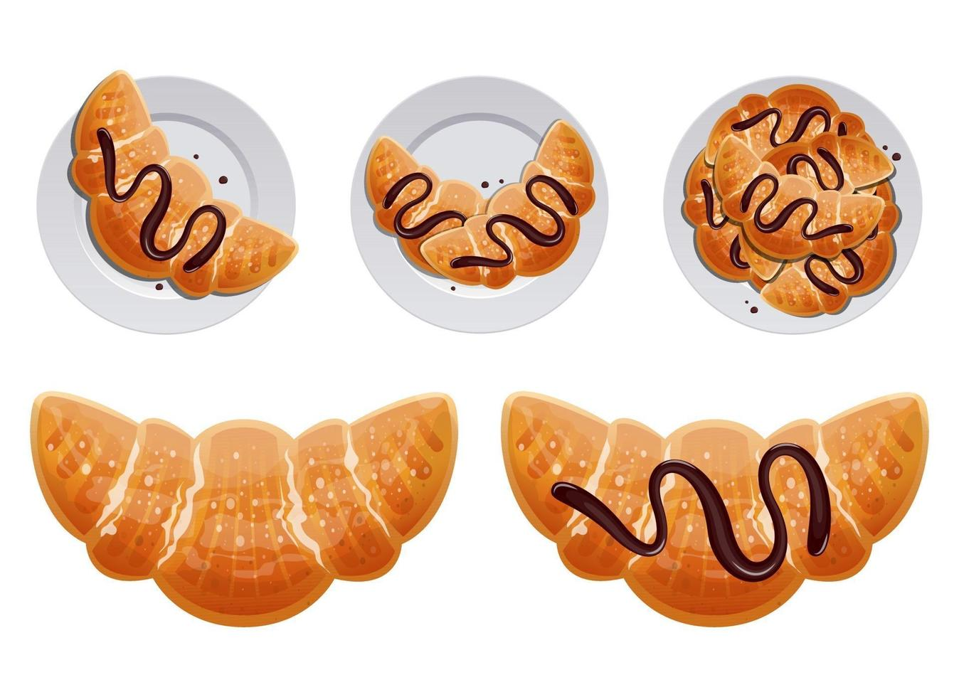 Traditional french croissant vector design illustration set isolated on white background