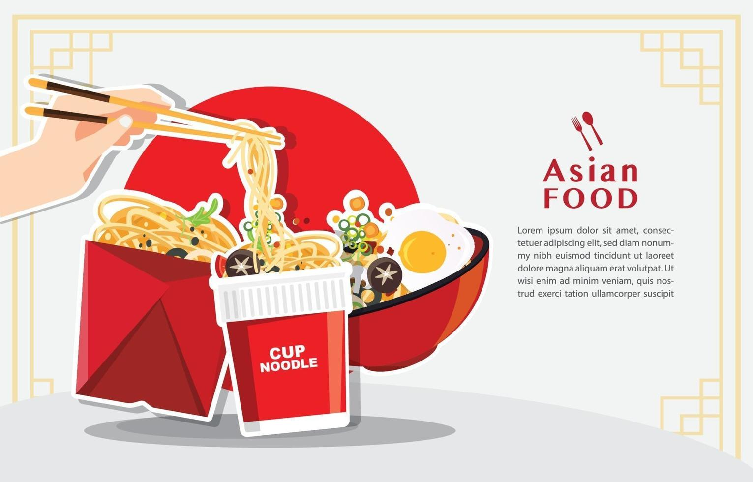 Traditional chinese soup with noodles asian food concept vector