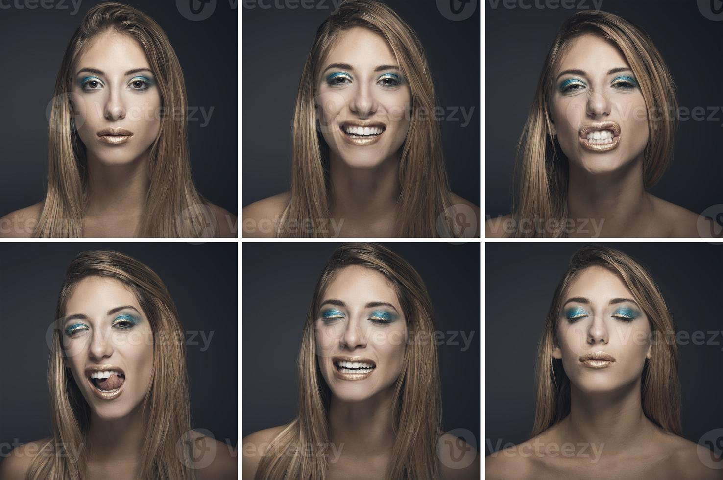 Six portraits of sexy young woman in different expressions photo
