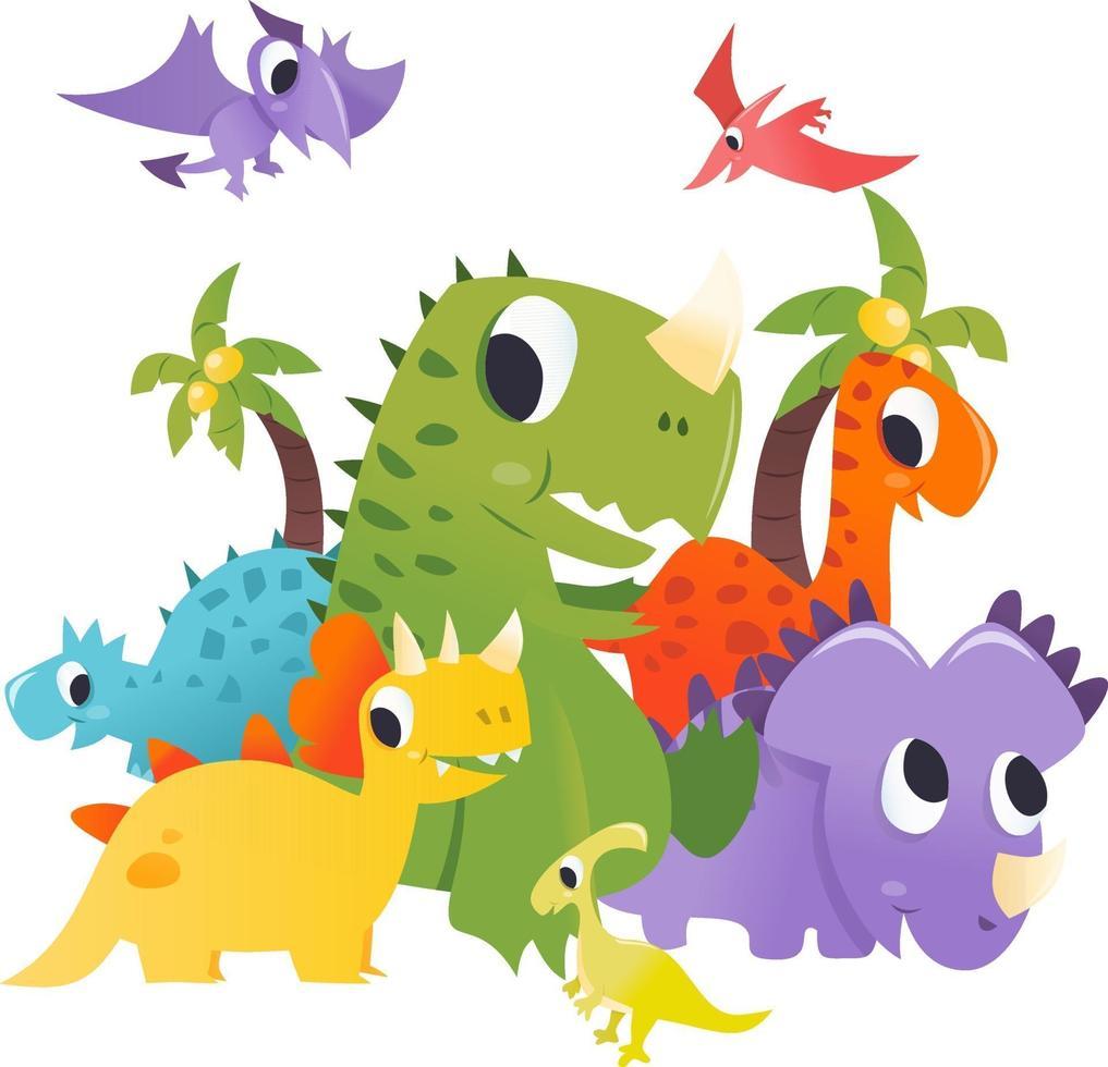 grupo de dinosaurios de dibujos animados super lindo escena prehistórica vector