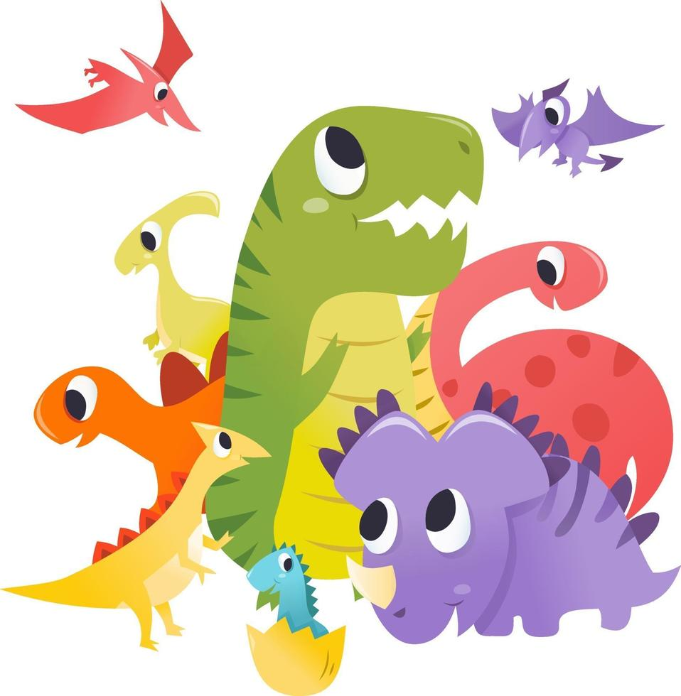 Super Cute Cartoon Dinosaurs Group Scene vector