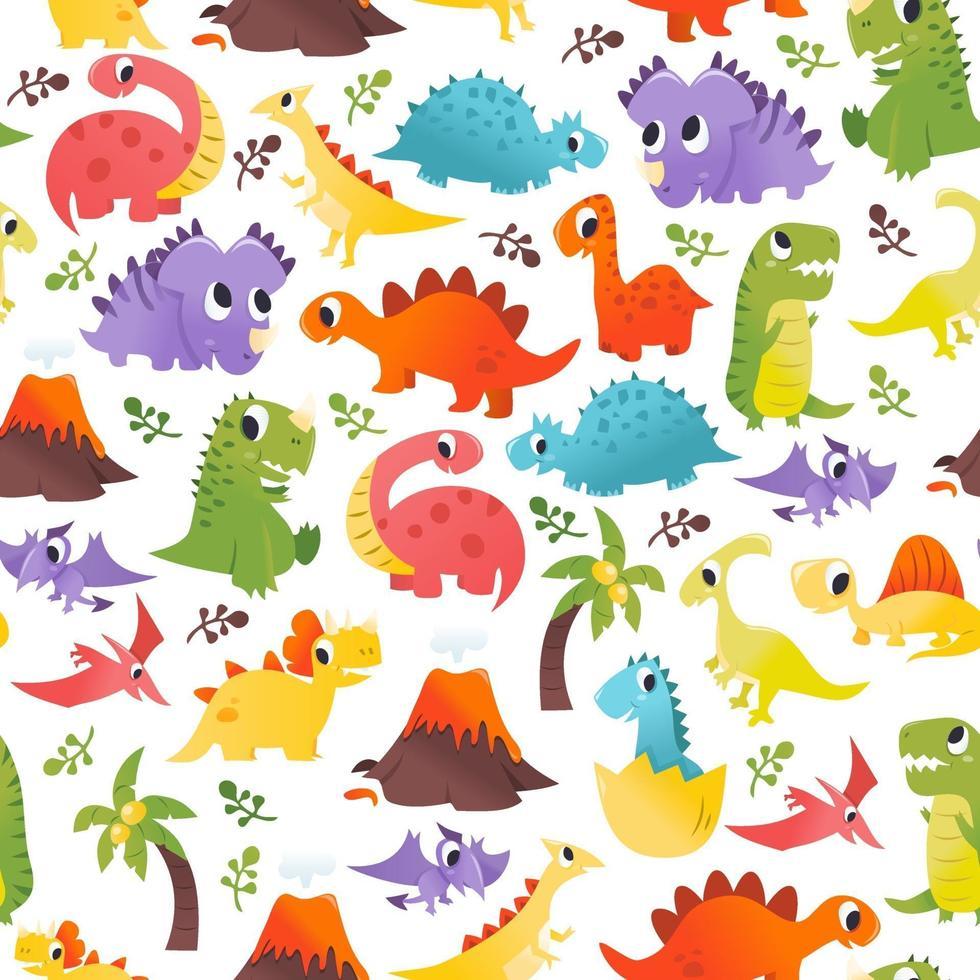 Super Cute Cartoon Dinosaurs Seamless Pattern Background vector